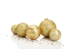 Gold Christmas balls. With stars on white background. Copy Space Stock Photo