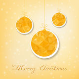 Gold christmas balls with triangle filling Royalty Free Stock Image