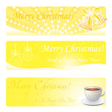 Gold christmas banners Stock Photo