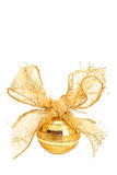 Gold Christmas bauble. With a big bow isolated on white background Stock Photos