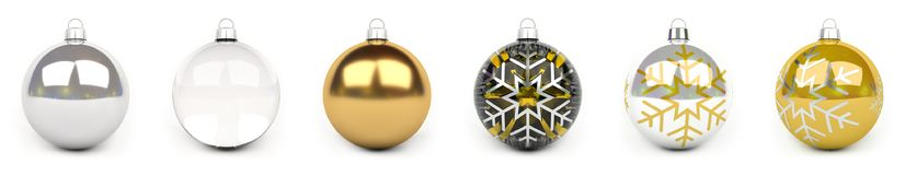 Gold christmas bauble collection 3D rendering. Gold christmas bauble collection on white background 3D rendering Stock Photography
