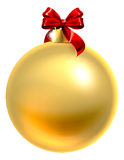 Gold Christmas Bauble With Red Bow. An illustration of a gold Christmas tree bauble decoration ornament with a red ribbon bow Stock Photo