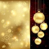Gold Christmas baubles Royalty Free Stock Images