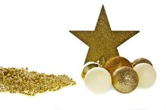 Gold christmas baubles 7 star stock photos
