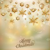 Gold Christmas baubles. EPS 10. Gold Christmas baubles background of defocused golden lights. Shallow DOF. EPS 10 vector file included Royalty Free Stock Photo