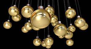 Gold Christmas Baubles Hanging Stock Images