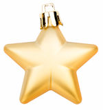 Gold christmas baubles isolated Stock Photography