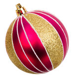 Gold christmas baubles isolated Stock Photos