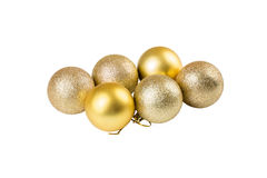 Gold Christmas baubles. Isolated on white background Royalty Free Stock Photo