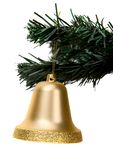 Gold christmas bell Stock Photo