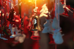 Gold Christmas bell Royalty Free Stock Photos