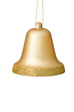 Gold Christmas Bell Ornament On White Background. Royalty Free Stock Photography
