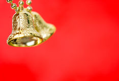 Gold christmas bells Stock Images