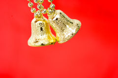 Gold christmas bells Stock Photos