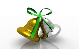 Gold christmas bells Royalty Free Stock Photos