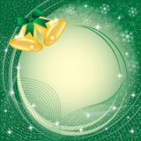 Gold christmas bells on green. Gold christmas bells with bow, snow, stars and snowflakes on green background. Copy space for text stock illustration