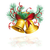 Gold christmas bells isolated  Royalty Free Stock Images