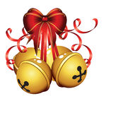 Gold christmas bells isolated  Royalty Free Stock Photo