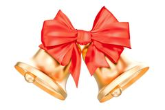 Gold Christmas Bells With Red Bow, 3D rendering. Isolated on white background Royalty Free Stock Photos