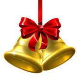 Gold Christmas Bells With Red Bow Royalty Free Stock Images