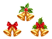 Gold Christmas bells. Vector illustration. Royalty Free Stock Photos