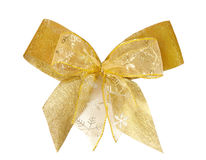 Gold christmas bow Stock Image