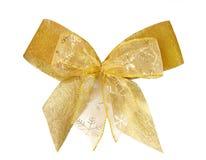 Gold christmas bow. On white background Stock Image