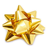 Gold christmas bow. On white background Royalty Free Stock Image