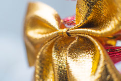 Gold Christmas bow Stock Photo
