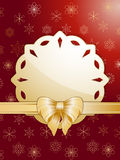 Gold christmas bow and label Stock Images