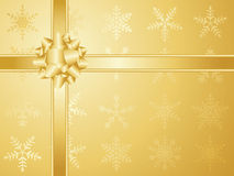 Gold christmas bow and ribbons Stock Photo