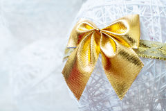 Gold Christmas bow Royalty Free Stock Images