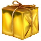 Gold Christmas Box Royalty Free Stock Photo