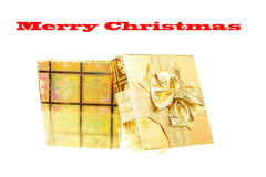 Gold Christmas Box Stock Images