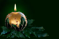 Gold Christmas candle Royalty Free Stock Photos