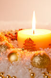 Gold Christmas candle flame Stock Photo