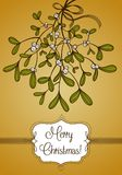 Gold Christmas card with branch of mistletoe Royalty Free Stock Images