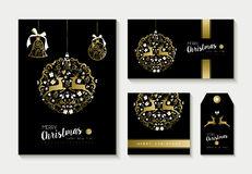 Gold christmas card and label design template set Royalty Free Stock Image