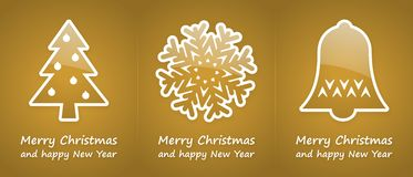 Gold christmas cards. With gold glossy symbols Royalty Free Stock Images