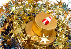 Gold Christmas decoration. Gold Christmas decoration with gold gifts box Stock Photography