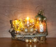 Gold Christmas Decoration. With burning candles Royalty Free Stock Photography