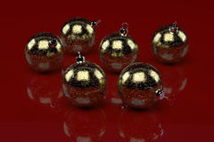Gold christmas decorations Stock Images