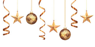 Gold christmas decorations. Row of gold christmas decorations Stock Photography