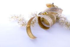 Gold Christmas decorations Stock Photos