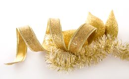 Gold Christmas decorations Stock Photo