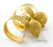 Gold Christmas decorations Royalty Free Stock Photos