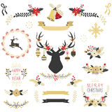 Gold Christmas Elements Royalty Free Stock Photography