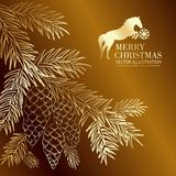 Gold  christmas fir and pinecone. Royalty Free Stock Images