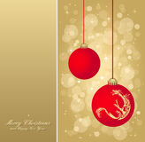 Gold christmas flyer. And with red balls, elements are in separate layers and grouped, easy to edit Royalty Free Stock Images