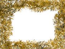 Gold Christmas garland, rectangular frame. Gold Christmas tinsel garland, forming a rectangular frame with center copy space, isolated on white background Royalty Free Stock Image